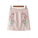 Chic Symmetrical Floral Embroidered Zip Back Mini A-Line PU Skirt