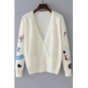 Chic Embroidery Pattern Long Sleeve V-Neck Single Breasted Cardigan