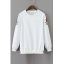 Chic Rose Embroidered Long Sleeve Round Neck Casual Pullover Sweatshirt