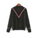 Contrast Striped Embroidery Letter Cuffs Cutout Trim Pullover Sweater