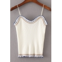 Chic Women's Spaghetti Straps Sleeveless Contrast Trim Sweater