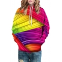 Color Block 3D Printed Drawstring Hooded Long Sleeve Unisex Hoodie