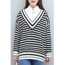 Basic V Neck Long Sleeve Striped Pattern Knit Pullover Sweater