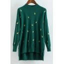 Chic Pineapple Embroidered High Low Hem Mock Neck Long Sleeve Sweater