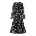 Summer's Floral Pattern Long Sleeve Buttons Down Midi A-Line Tea Dress with Slip Dress Inside