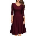 Graceful Lace 3/4 Length Sleeve Plain Midi Party A-Line Dress