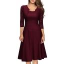 Graceful Lace 3/4 Length Sleeve Plain Midi Party A-Line Dress