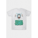 Funny Cartoon Rick and Morty Pattern Round Neck Short Sleeve T-Shirt