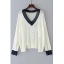 New Arrival Contrast V-Neck Long Sleeve Hollow Out Pullover Sweater