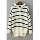 Classic Striped Pattern Dipped Hem Hooded Long Sleeve Sweater