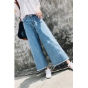 High Waist Basic Simple Plain Loose Fringe Hem Wide Legs Jeans