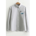 Basic Simple Cartoon Fish Embroidered Lapel Collar Long Sleeve Buttons Down Shirt