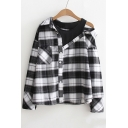 Fashion Fake Two-Piece Cold Shoulder Plaids Pattern Long Sleeve Buttons Down Shirt