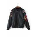 Fashion Floral Embroidered Stand-Up Collar Long Sleeve Zip Up Baseball Jacket