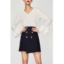 Fashion Bow Embellished Cuff Long Sleeve V Neck Plain Pullover Blouse
