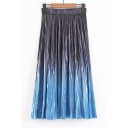 New Collection Chic Ombre Elastic Waist Midi Pleated Skirt