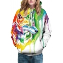 Digital Colorful Painted Wolf Pattern Casual Loose Unisex Hoodie