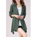 Fashion Basic Plain Long Sleeve Notched Lapel Collar Asymmetrical Hem Trench Coat