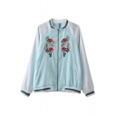 Fashion Floral Embroidered Stand-Up Collar Long Sleeve Baseball Jacket