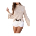 Chic Lace-Up Open Back Turtle Neck Long Sleeve Simple Plain Sweater
