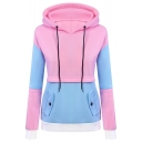 New Trendy Fashion Color Block Casual Leisure Long Sleeve Hoodie