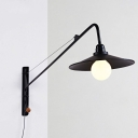 Industrial Wall Sconce with Conical Shade, Matte Black