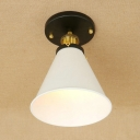 Vintage Semi Flush Mount with Coolie Shade in White