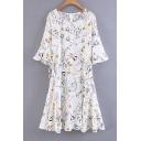 Fresh Bell Half Sleeve Round Neck Belt Waist Zip back Floral Printed Midi Dress