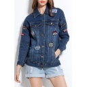 Fashion Letter Patched Lapel Collar Long Sleeve Buttons Down Denim Jacket