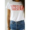 New Arrival Letter Printed Loose Leisure Round Neck Short Sleeve T-Shirt