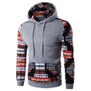 Hot Fashion Tribal Printed Color Block Long Sleeve Hoodie with Pockets