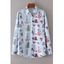 New Stylish Cartoon Character Clothes Pattern Long Sleeve Buttons Down Shirt