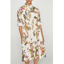 Women's Floral Printed Belt Waist Lapel 3/4 Length Sleeve Single Breasted Midi Shirt Dress