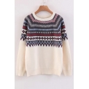 Chic Geometric Pattern Long Sleeve Round Neck Casual Sweater