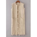Chic Sleeveless Open Front Plain Tunic Cardigan with Two Pockets