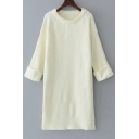 Basic Simple Plain Long Sleeve Round Neck Comfort Tunic Pullover Sweater