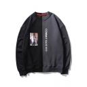 Street Style Fashion Color Block Letter Print Long Sleeve Round Neck Sweatshirt