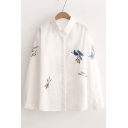 New Trendy Bird Embroidered Lapel Collar Long Sleeve Buttons Down Shirt
