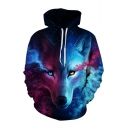 Color Block Wolf 3D Printed Long Sleeve Hoodie Sweatshirt