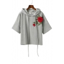 Drawstring Hooded Embroidery Floral Appliqued Short Sleeve Hoodie