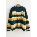 Fashion Color Block Casual Loose Round Neck Long Sleeve Cable Knit Sweater