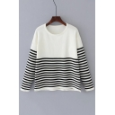 Classic Striped Pattern Basic Round Neck Long Sleeve Pullover Sweater