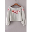 Boat Neck Long Sleeve Fashion Floral Embroidered Cropped Sweatshirt