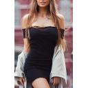 Sexy Off The Shoulder Short Sleeve Simple Plain Mini Bodycon Dress