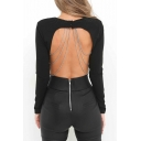 Fashion Sexy Chain Open Back Round Neck Long Sleeve Plain Cropped T-Shirt