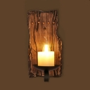 Industrial Mini Wall Sconce with Wooden Lamp Base