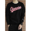 Retro Letter CHAMPION Pattern Round Neck Long Sleeve Pullover Sweatshirt