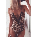 Hot Popular Chic Leopard Printed Sexy Lace-Up Plunge Neck Spaghetti Straps Bodysuit