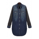 Fashion Patchwork Lapel Collar Long Sleeve Buttons Down Denim Coat