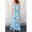 Summer's Hot Fashion Holiday Beach Floral Printed Halter Neck Maxi Dress